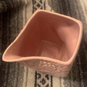 Vintage Kitchen - Antique Niloak rare pink flower relief pitcher